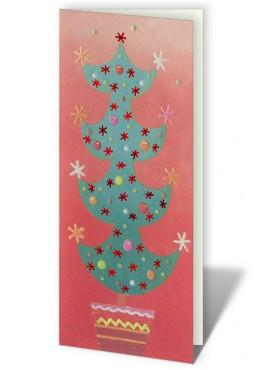 Kartka Świąteczna Choinka z Kolorowymi Bombkami i Gwiazdkami CFB0003