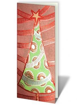 Kartka Świąteczna z Motywem Złoconej oraz Tłoczonej Choinki CFB0010