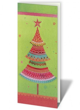 Kartka Świąteczna z Kolorowym Wzorem Choinki CFB0005