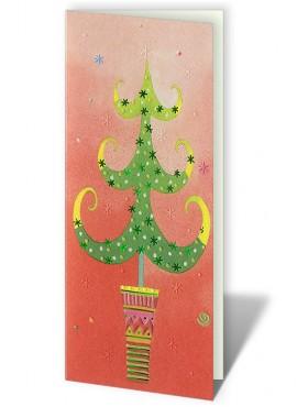 Kartka Świąteczna z Oryginalnym Motywem Choinki w Doniczce CFB0006