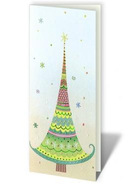 Kartka Świąteczna Choinka z Kolorowym Wzorem CFB0008