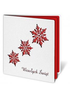Kartka Świąteczna z Trzema Śnieżynkami Wyciętymi Laserowo FS226e2