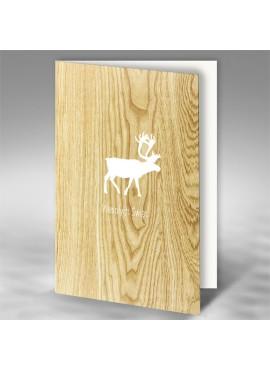 Kartka Świąteczna z Białym Reniferem na Drewnianym Tle FS814