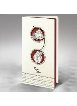 Kartka Świąteczna z Mikołajem i Bałwankiem Przewiązanych Brązowym Sznurkiem FS547