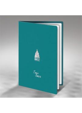 Kartka Świąteczna z Subtelnym Motywem Srebrnej Choinki FS603t