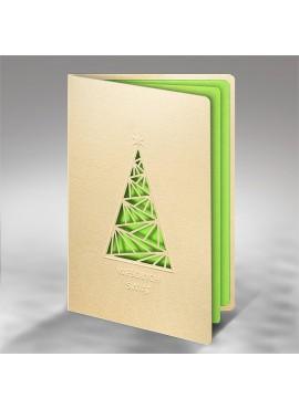 Kartka Świąteczna z Prostą Choinką Wyciętą Laserowo FS722tz