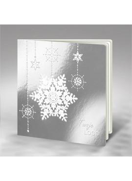Kartka Świąteczna z Białym Motywem Śnieżynek oraz Gwiazdek FS599l