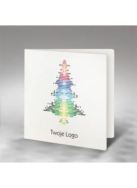 Kartka Świąteczna z Oryginalną Kolorową Choinką FS739