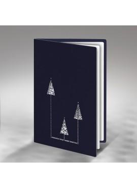 Kartka Świąteczna z Trzema Choinkami Wyciętymi Laserowo FS384gg