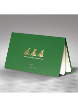 Kartka Świąteczna z Motywem Trzech Złotych Choinek FS548zl