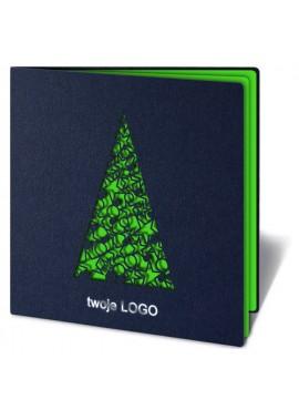 Kartka Świąteczna z Wyciętą Laserowo Choinką w Bombki i Gwiazdki FS204g