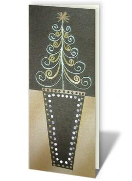 Kartka Świąteczna z Motywem Choinki w Doniczce CFB0016