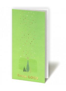 Kartka Świąteczna z Choinkami oraz Złoconymi Gwiazdkami CFB005.017.12151