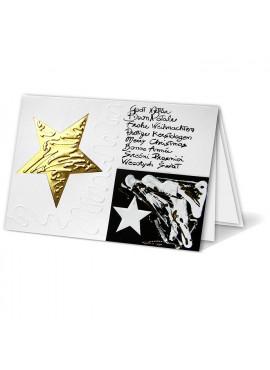 Kartka Świąteczna ze Złotą Gwiazdą oraz Mazajkami W011220