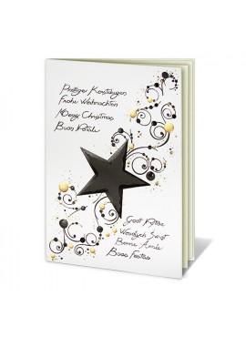 Kartka Świąteczna z Gwiazdą oraz Czarno-Złotym Wzorem W011025