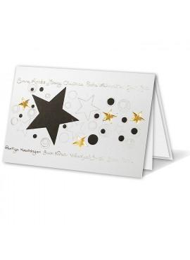 Kartka Świąteczna z Czarnymi i Złotymi Gwiazdkami oraz Kółeczkami W011042