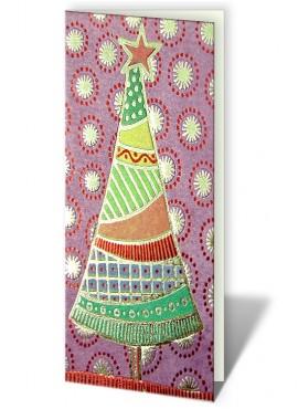 Kartka Świąteczna z Choinką w Różne Kolorowe Wzory CFB0013