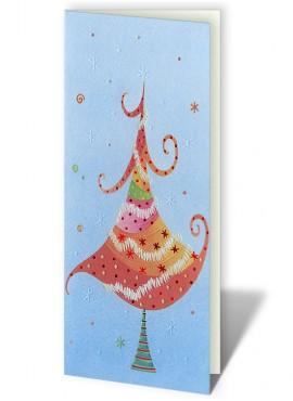 Kartka Świąteczna z Motywem Przyozdobionej Kolorowej Choinki CFB0004