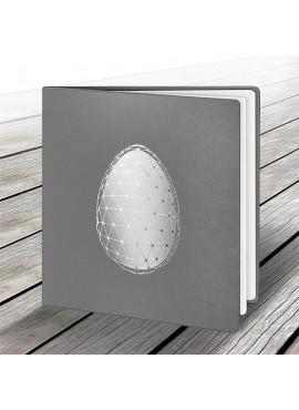 Kartka Świąteczna z Motywem Jajka z Srebrną Siatką W500