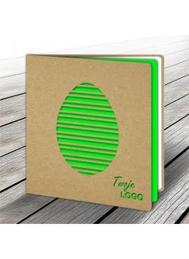 Kartka Świąteczna z Zielonym Jajkiem Wyciętym Laserowo W572