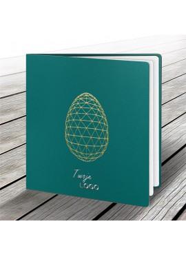 Kartka Świąteczna z Nowoczesnym Motywem Złotego Jajka W560