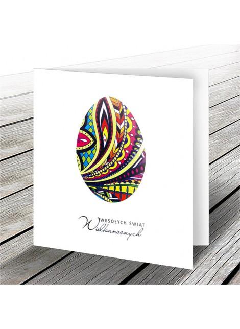 Kartka Świąteczna z Motywem Kolorowego Jajka w Różne Wzory W578