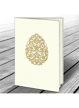 Kartka Świąteczna z Motywem Złotej Pisanki W584