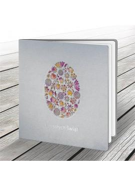 Kartka Świąteczna Wycięte Laserowo Jajko z Motywem Kwiatowym W604