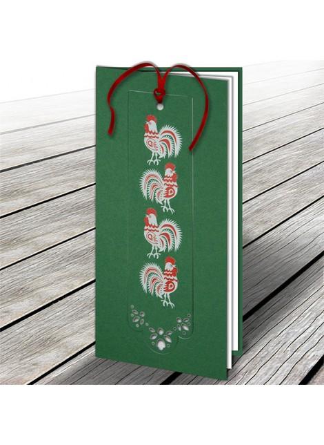 Kartka Świąteczna z Zakładką do Książki Folkowy Motyw Kogutów W615
