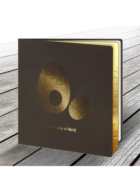 Kartka Świąteczna z Motywem Złotych Jajek Wyciętych Laserowo W605