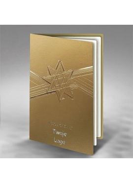 Kartka Świąteczna Złocona Geometryczna Gwiazda FS876az