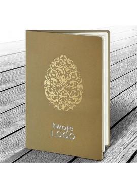 Kartka Świąteczna z Oryginalnym Motywem Pisanki w Kolorze Złotym W624