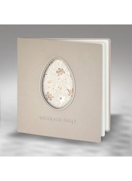 Kartka Świąteczna Wycięta Pisanka z Motywem Kwiatowym W376