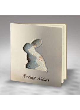 Kartka Świąteczna Wycięty Zajączek z Motywem Kwiatowym W365