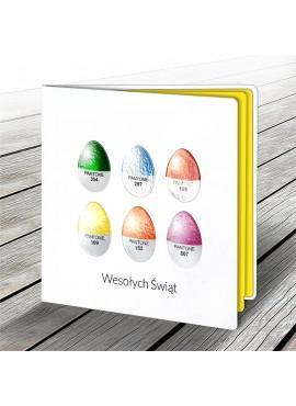 Kartka Świąteczna z Motywem Sześciu Kolorowych Jajek W545