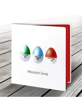Kartka Świąteczna z Motywem Trzech Kolorowych Jajek W541