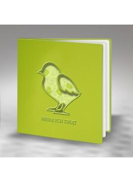 Kartka Świąteczna Wycięty Laserowo Kurczaczek z Kwiatowym Motywem W407