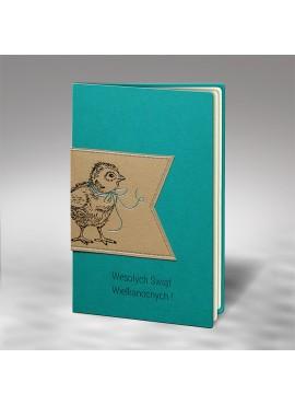 Kartka Świąteczna Ekologiczna Aplikacja z Wizerunkiem Kurczaka W462