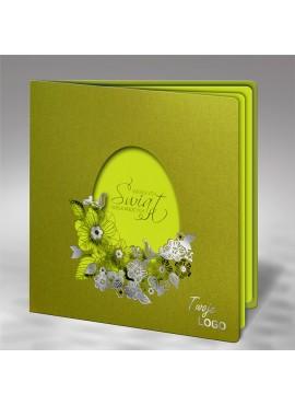 Kartka Świąteczna z Wyciętym Jajkiem oraz Kwiatami W481
