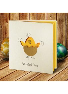Kartka Świąteczna z Zabawnym Motywem Kurczaka w Skorupce W429