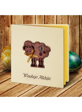 Kartka Świąteczna Eco Design z Aplikacją w Postaci Owieczki W344