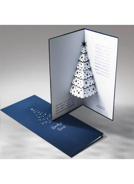 Kartka Świąteczna Ciemno Niebieska Choinka 3D FS479ng