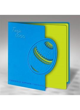 Kartka Świąteczna z Motywem Niebieskiej Pisanki Wyciętej Laserowo W443