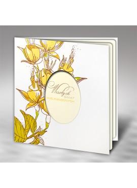 Kartka Świąteczna z Kwiatowym Motywem oraz Wyciętym Jajkiem W445