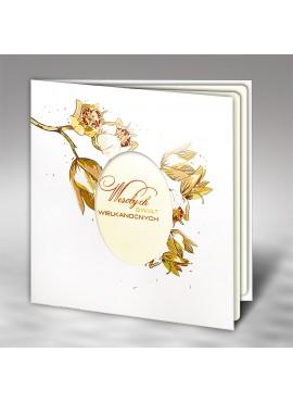 Kartka Świąteczna z Kwiatowym Motywem oraz Wyciętym Jajkiem W446