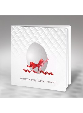 Kartka Świąteczna Motyw Jajka z Czerwoną Kokardą W487