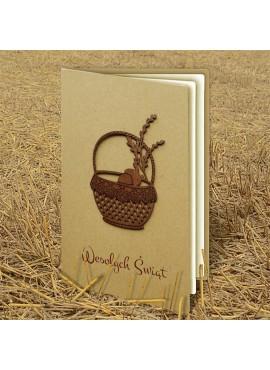 Kartka Świąteczna Eco Design z Drewnianą Aplikacją w Postaci Koszyczka W337