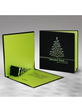 Kartka Świąteczna Zielona Choinka 3D FS484ag