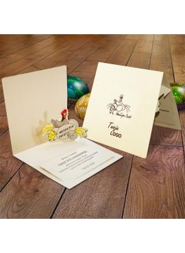 Kartka Świąteczna Eco Design z Aplikacją w Postaci Kury z Jajkami 3D W357
