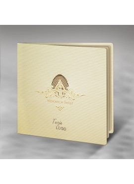 Kartka Świąteczna z Motywem Pisanki Tłoczonej oraz Wyciętej Laserowo W390